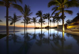 Enjoy the views at twilight over the pool and to the ocean.
