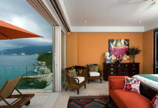 Master bedroom with terrace and view of Banderas Bay.
