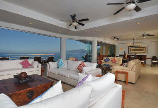 Living and Dining area with view of Banderas Bay.