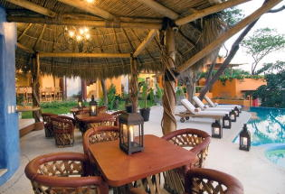 Palapa covered terrace.